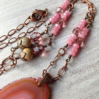 Pink Agate Necklace Antique Rose Swarovski Pink Quartz Beads Long Copper Chain Jasper Beads