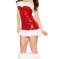 Red Faux Fur Sequined Candy Cane Costume