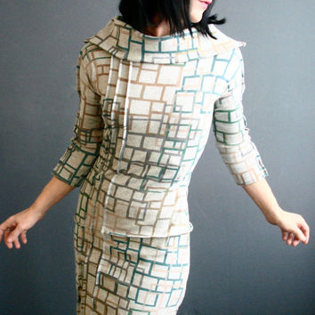 Modern Cities - iheartfink Handmade Hand Printed Womens Unique Pale Gray Geometric Art Print Fitted Jersey Cowl Dress