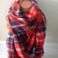 Plaid blanket scarf plaid scarves oversized multi color camel scarf bloggers large scarf Zara inspired Soft plaid blanket scarf in camel