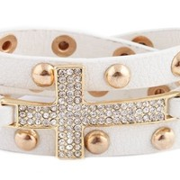 2 Pieces of White with Goldtone Iced Out Cross Adjustable Wrap Snap Bracelet
