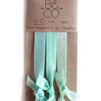 Headband Set in Aqua Green