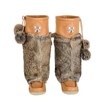 Natural Brown Leather Mukluks with White Embroidery