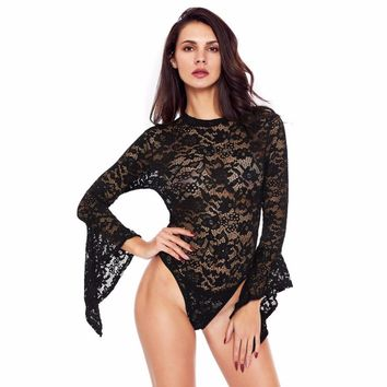 Woman Bodysuits Sexy Lace Net Yarnps Stitching Perspective Bodysuits 2018 New Fashion Clothing Black White Bodycon Romper L165