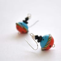 Blue Carnival Ball Earrings, Lampwork Glass Earrings, Colorful Earrings, Whimsical Jewelry