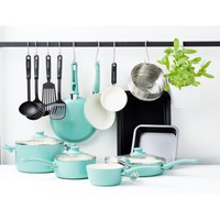 GreenLife Chef's Essentials Ceramic Non-Stick 18pc Cookware Set, Turquoise - Walmart.com