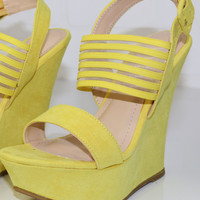 Spring Bliss Lemon Yellow Strappy Wedges