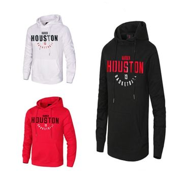 Cheap New Men Basketball Jersey 13 James Harden Long Sleeves Basketball Training Shirt Breathable Sports Hoodies With Pocket
