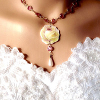 Broken China Jewlry/Wedding Jewelry Set-Bridal Pearl Necklace/Special Occasion