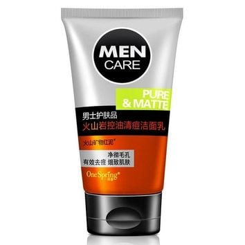 MEN'S volcanic rock minerals Whitening Moisturizing Cleanser Facial Care,acne treatment Cleansing Skin Care Face Washing Product