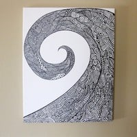 Wave Paint pen on Canvas Drawing/Painting by ArtworkSW on Etsy