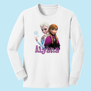 Disney's Elsa and Anna personalized long sleeve T shirts