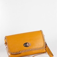 Snakeskin Leather Clutch With Gold Chain Trim - Yellow at Lucky 21 Lucky 21
