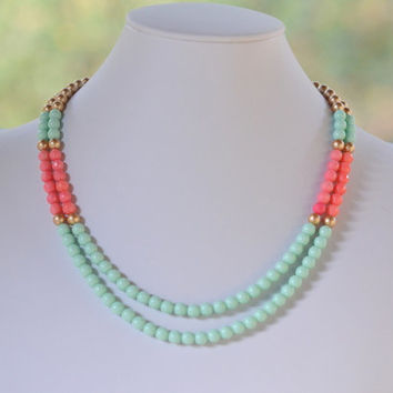 Mint Coral and Gold Double Strand Statement Necklace. Coral Mint and Gold Color Block Statement Necklace.  Bridesmaid Gift.  Christmas Gift.