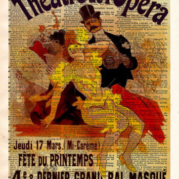 Vintage Opera print, vintage advertising, Theatre de L'Opera Theatre sign, vintage dictionary art print