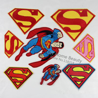1 PCS Superman Clothes Embroidered Iron on Patches for Clothing DIY Stripes Motif Appliques Garment Badge parches bordados