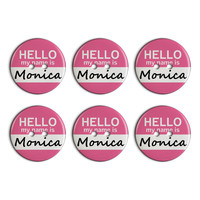 Monica Hello My Name Is Plastic Resin Button Set of 6
