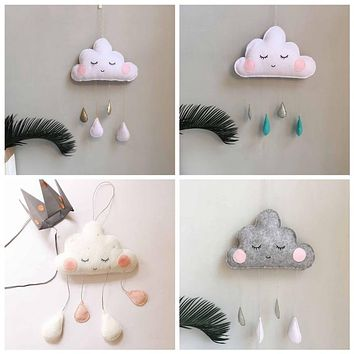 Nordic Felt Cloud Raindrops Garland Baby Room Wall Decorations Tents Decor Clouds Smiles Photography Props Kid Room Decoration