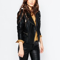 Pimkie Zip Detail Faux Leather Biker Jacket