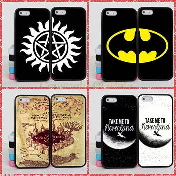 Supernatural Batman Spider Man Jack Skellington Harry Potter Brain BFF Best Friends Case Cover For iPhone 4S 5C 5S 6S 7 Plus