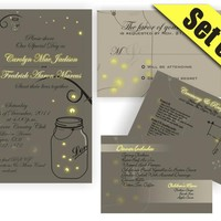 Printable Mason Jar Fireflies Wedding Suite Invitation RSVP Direction And Menu Inserts on Luulla