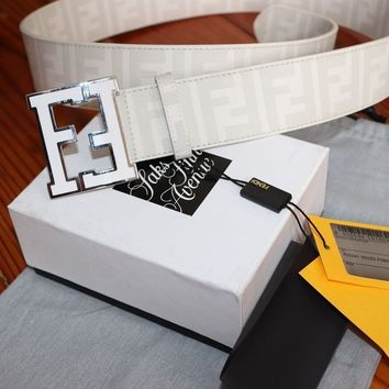 Authentic WHITE Fendi College FF Buckle Belt Zucca 110 cm 38-40