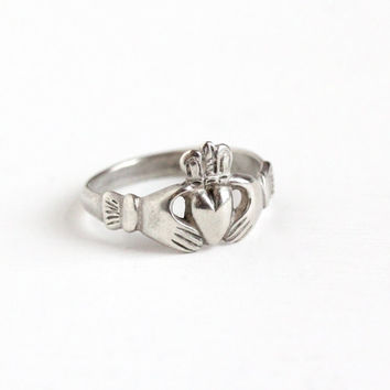 Vintage Sterling Silver Claddagh Irish Ring - Retro 1970s Size 5 3/4 Hands Holding Heart Crown Symbolic Ireland Promise Friendship Jewelry