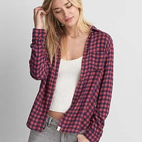 AEO Ahh-mazingly Soft Plaid Shirt , Red