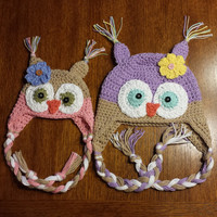 Crochet Owl Ear Flap Hat Newborn - 4T