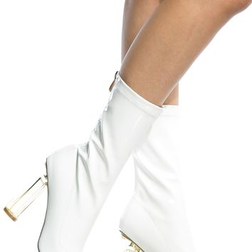 White Patent Leather Calf Length Translucent Heels @ Cicihot Heel Shoes online store sales:Stiletto Heel Shoes,High Heel Pumps,Womens High Heel Shoes,Prom Shoes,Summer Shoes,Spring Shoes,Spool Heel,Womens Dress Shoes