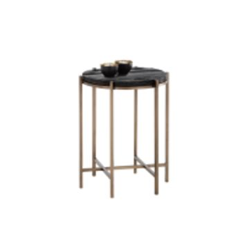 ROHA ANTIQUE BRASS FINISH BASE WITH LIGHT GREY SHAGREEN TOP END TABLE