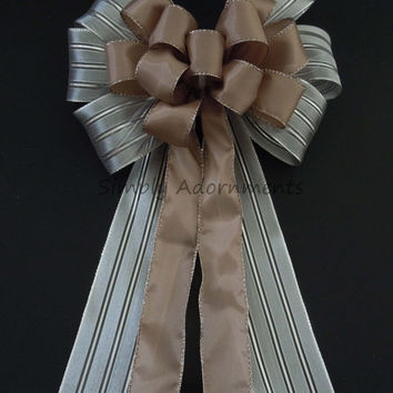 Fall Taupe Wedding Pew Bow Silver Taupe Bling Pew Bow Silver Brown Wedding Pew Bow Ceremony Decoration Bow Beige Brown Church Aisle Pew Bow