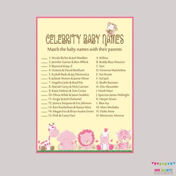 Pink Celebrity Baby Shower Game Printable - Safari Celebrity Baby Name Match - Instant Download - Girl Safari Baby Shower Game - BS0001-P