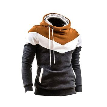 Winter New Tracksuit Men Top Patchwork Long Sleeves Belt O-Neck Warm Hoodie Pullover Slim Outwear Hoddies