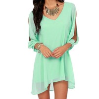Amoin Women Sexy Off Shoulder V-neck A-line Mini Strapless Loose Casual Dress [A6068],Small,Green