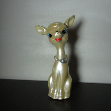 Vintage Iridescent White Ceramic Deer/Reindeer Figurine - Kitch Christmas/Holiday Decor