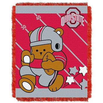 "Ohio State Buckeyes NCAA Half Court Baby 36""x 46"" Triple Woven Jacquard Throw"