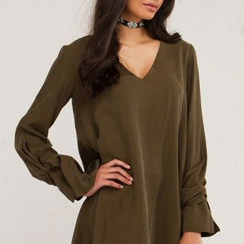 Olive Shift Dress For Day Looks