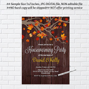 Rustic Fall housewarming party invitation, New house, home sweet home, housewarming - card 1031