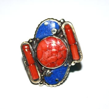 country coral Lapis ring