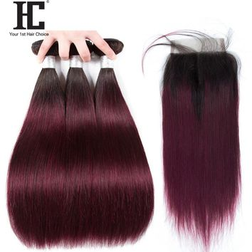 "Ombre Brazilian Straight Hair Bundles With Closure Non Remy Human Hair Extensions 1b/99j Red Wine 10-28"" Hair Weave With Closure"