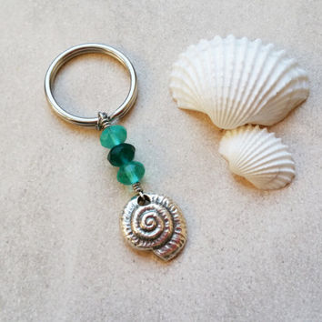 Nautical Keychain, Ammonite Ocean Keychain, Nautical Gifts Under 15, Unique Key Chains, Beaded Keychain, Stainless Steel Charm Keychain