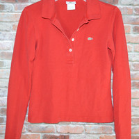 Womens LaCoste Polo Red Sz 38 (US 6)