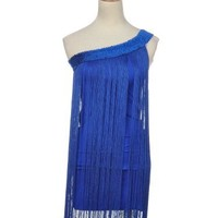 Anna-Kaci S/M Fit Royal Blue Vintage Flapper Inspired One Shoulder Mini Dress