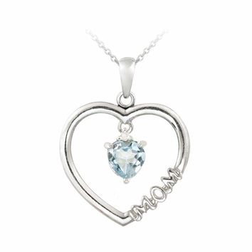 "925 Silver Dangling Gemstone & Diamond Accent ""Mom"" Open Heart Necklace, 3 Color"
