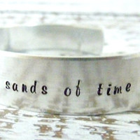 Inspirational Hand stamped cuff bracelet adjustable footprints in the sands of time jewelry