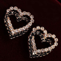 1 pair Black And White Double Peach Artificial Diamond Earrings - Gold