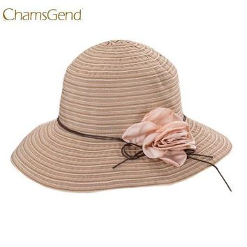 PEAP78W Chamsgend Newly Design Women Fashion Foldable Striped Summer Wide Brim Sun Hat Beach Boho Cap with Flower 170531