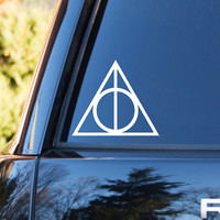Happy Potter and the Deathly Hallows Vinyl Car Decal   Happy Potter Decals   Pothead Vinyl Decals   JK Rowling Decal   Happy Potter Trilogy