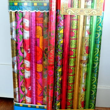Vintage Foil Wrapping Paper, Christmas Gift Wrap, Holiday Gift Wrap, Foil Wrap